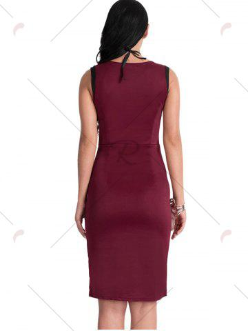 Shops Bodycon Knee Length Floral Patch Dress - XL WINE RED Mobile