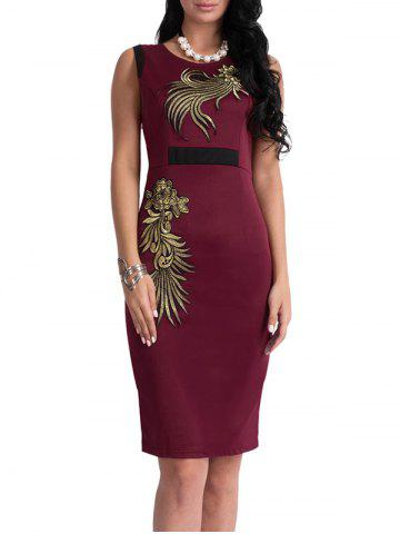 Buy Bodycon Knee Length Floral Patch Dress - XL WINE RED Mobile