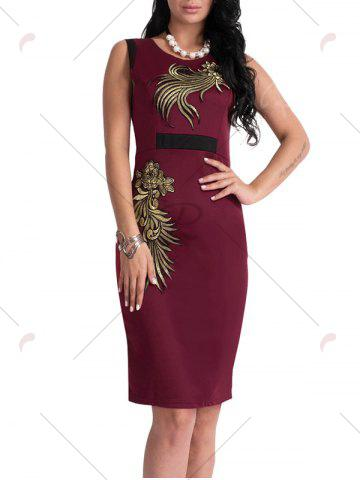 Best Bodycon Knee Length Floral Patch Dress - XL WINE RED Mobile