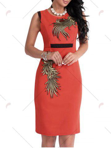 Discount Bodycon Knee Length Floral Patch Dress - XL ORANGE Mobile