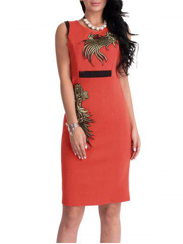 Robe en patchwork floral à longueur au genou Bodycon Orange L