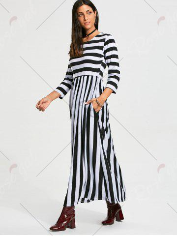 Outfit High Waist Stripe Maxi Dress with Pocket - XL BLACK Mobile