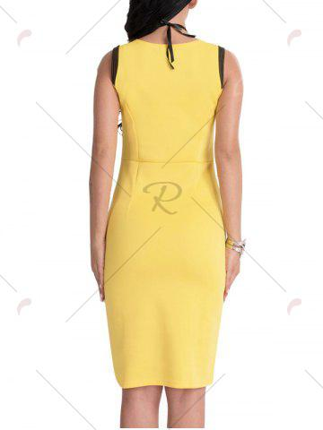 Shop Bodycon Knee Length Floral Patch Dress - XL YELLOW Mobile
