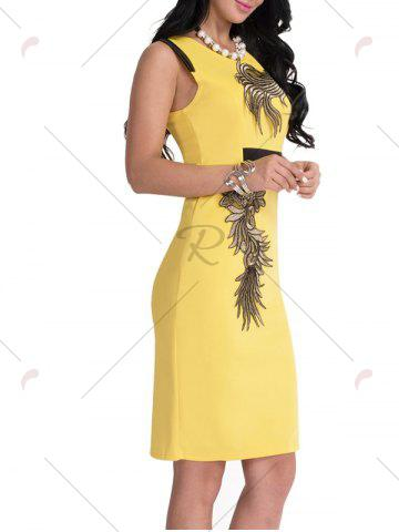 Trendy Bodycon Knee Length Floral Patch Dress - XL YELLOW Mobile