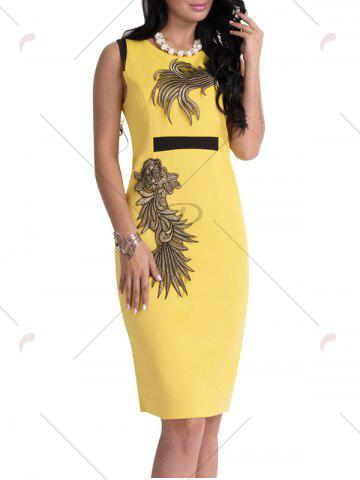 New Bodycon Knee Length Floral Patch Dress - XL YELLOW Mobile