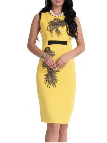 Bodycon Knee Length Floral Patch Dress - Yellow - L