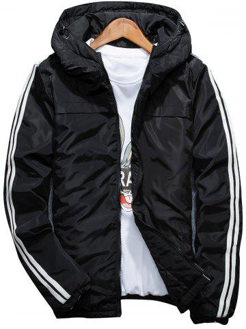 Stripe Zip Up Down Jacket Noir 4XL