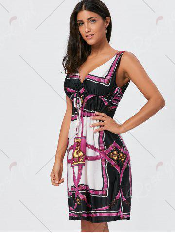 Best Printed V Neck High Waist Mini Dress - ONE SIZE COLORMIX Mobile