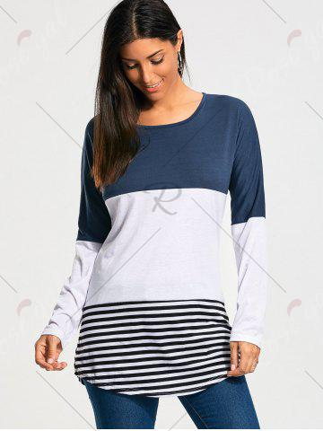 Latest Color Block Striped Long Sleeve T-shirt - XS BLUE Mobile