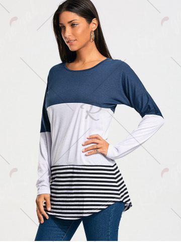 Buy Color Block Striped Long Sleeve T-shirt - XS BLUE Mobile