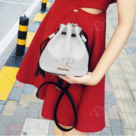 Sale Tassel Drawstring Faux Suede Bucket Bag - GRAY  Mobile