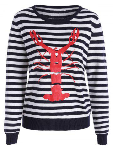 Unique Lobster Print Striped Pullover Knitwear BLACK WHITE ONE SIZE