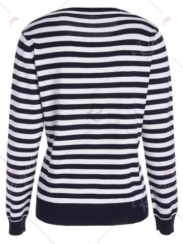 Best Lobster Print Striped Pullover Knitwear - ONE SIZE BLACK WHITE Mobile