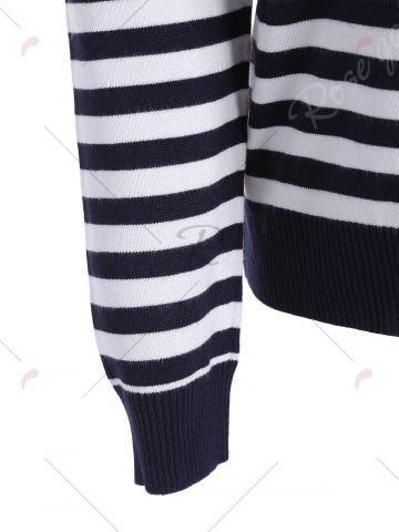Cheap Lobster Print Striped Pullover Knitwear - ONE SIZE BLACK WHITE Mobile