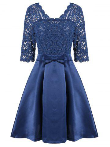 Hot Lace Insert V Neck Pin Up Cocktail Dress - L BLUE Mobile