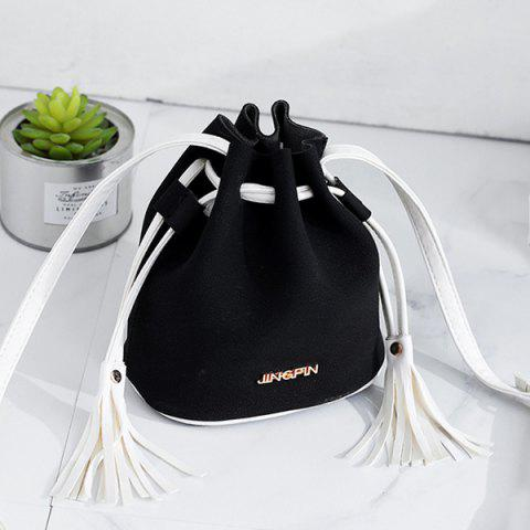 Buy Tassel Drawstring Faux Suede Bucket Bag - BLACK  Mobile
