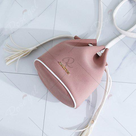 Shop Tassel Drawstring Faux Suede Bucket Bag - PINK  Mobile