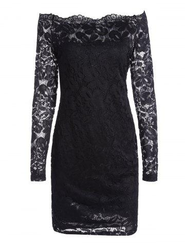 Outfits Off The Shoulder Long Sleeve Lace Dress - S BLACK Mobile