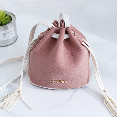 Store Tassel Drawstring Faux Suede Bucket Bag - PINK  Mobile
