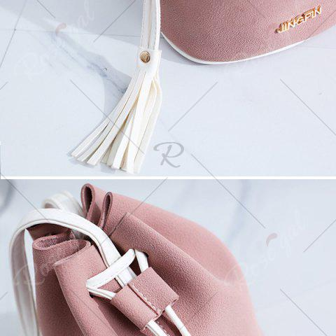 Fancy Tassel Drawstring Faux Suede Bucket Bag - PINK  Mobile