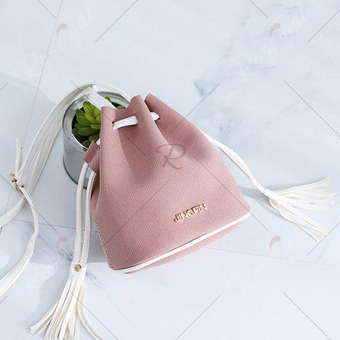 Unique Tassel Drawstring Faux Suede Bucket Bag - PINK  Mobile
