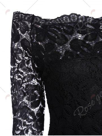 Store Off The Shoulder Long Sleeve Lace Dress - S BLACK Mobile