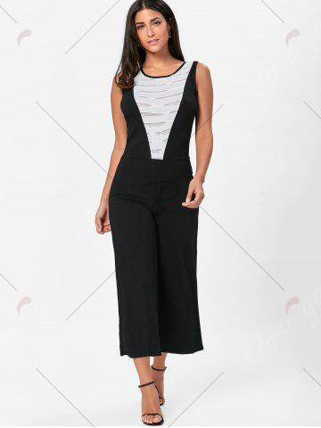 Fancy Wide Leg Sleeveless Two Tone Jumpsuit - M WHITE AND BLACK Mobile