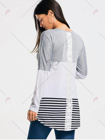 Buy Color Block Striped Long Sleeve T-shirt - 2XL GRAY Mobile