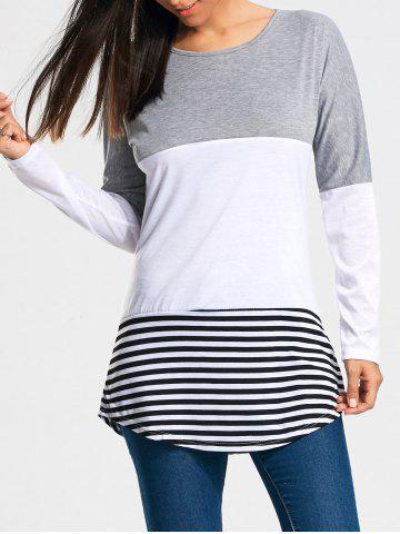 Discount Color Block Striped Long Sleeve T-shirt GRAY 2XL