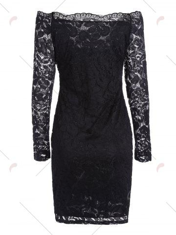 Buy Off The Shoulder Long Sleeve Lace Dress - L BLACK Mobile
