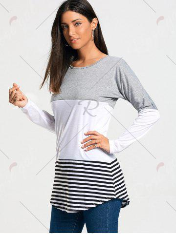 Trendy Color Block Striped Long Sleeve T-shirt - 2XL GRAY Mobile