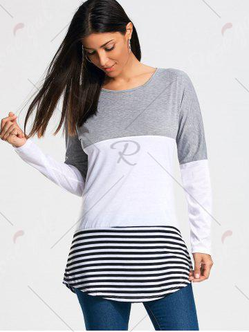 Outfits Color Block Striped Long Sleeve T-shirt - 2XL GRAY Mobile
