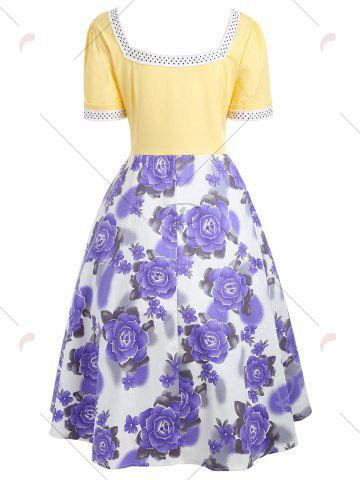 Discount Flower Print Sweetheart Neck 50s Swing Dress - L YELLOW Mobile