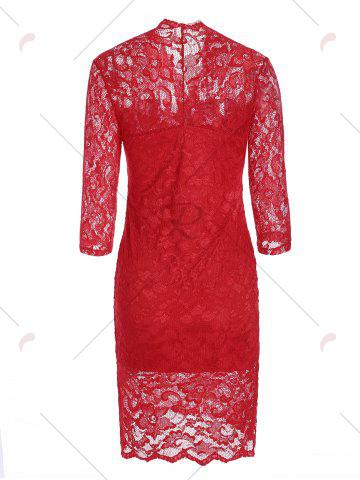 Sale V Neck Lace Tight Fitted Sheath Dress - M RED Mobile