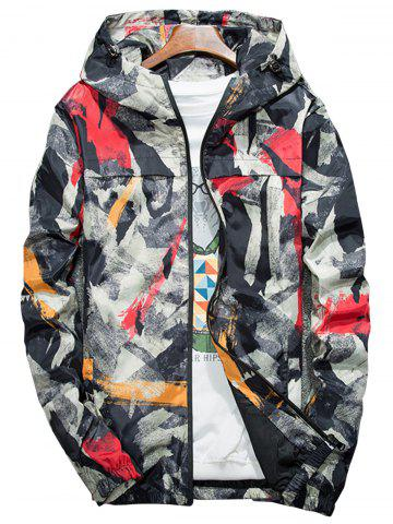 Fashion Camouflage Splatter Paint Lightweight Jacket RED 4XL