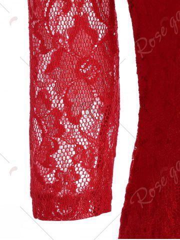 Chic V Neck Lace Tight Fitted Sheath Dress - XL RED Mobile