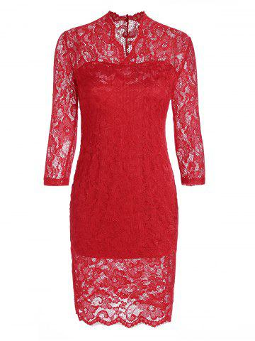 V Neck Lace Tight Fitted Sheath Dress - Red - Xl
