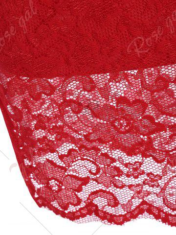 Affordable V Neck Lace Tight Fitted Sheath Dress - XL RED Mobile