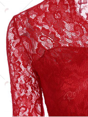 Latest V Neck Lace Tight Fitted Sheath Dress - XL RED Mobile