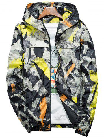 Camouflage Splatter Paint Lightweight Jacket Jaune 4XL