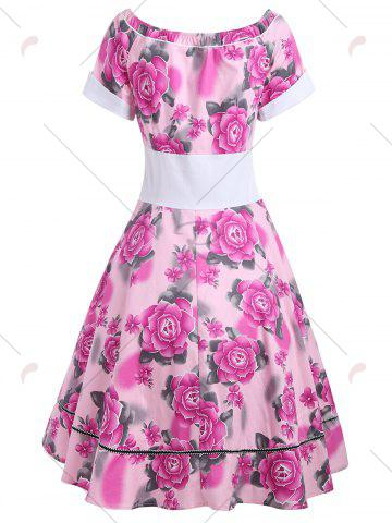 Latest Empire Waist Flower Print 50s Swing Dress - L TUTTI FRUTTI Mobile