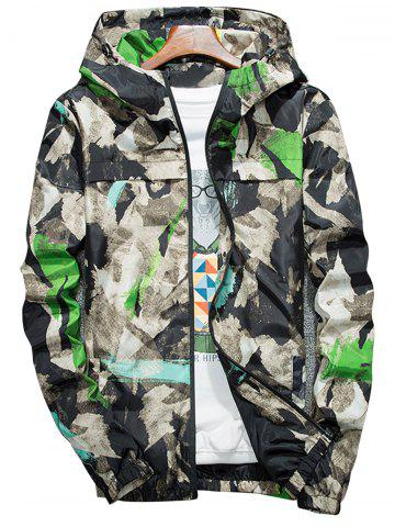 Camouflage Splatter Paint Lightweight Jacket Vert 4XL
