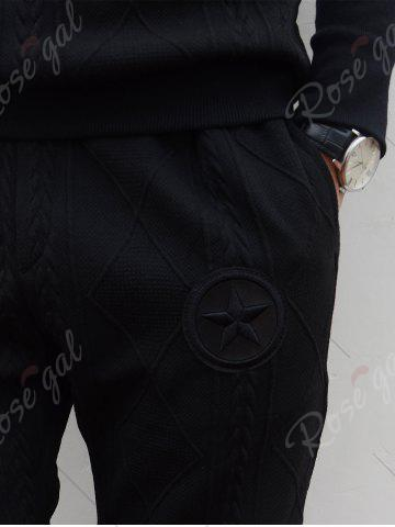 Buy Star Embroidered Geometric Emboss Hoodie Twinset - L BLACK Mobile