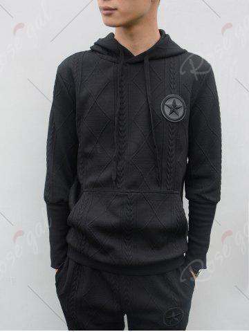 Affordable Star Embroidered Geometric Emboss Hoodie Twinset - L BLACK Mobile