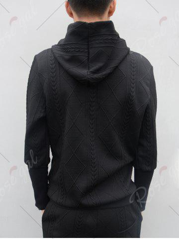New Star Embroidered Geometric Emboss Hoodie Twinset - L BLACK Mobile