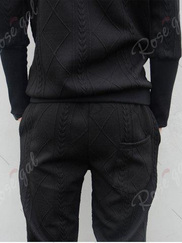Online Star Embroidered Geometric Emboss Hoodie Twinset - L BLACK Mobile