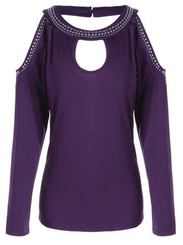 Discount Stud Panel Cold Shoulder Long Sleeve T-shirt PURPLE S