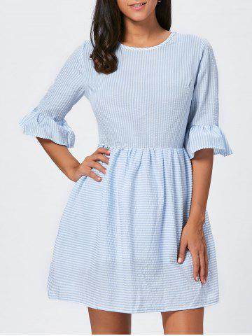 New Ruffle Sleeve Striped Seersucker Dress - S LIGHT BLUE Mobile