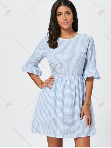 Hot Ruffle Sleeve Striped Seersucker Dress - L LIGHT BLUE Mobile