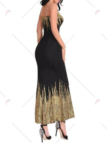 Latest Open Back Printed Maxi Dress - L BLACK Mobile